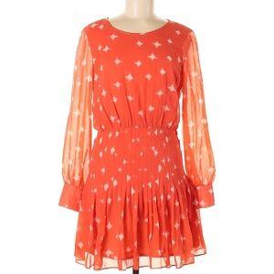 NWT MADEWELL Sheer Sleeve Pintuck Ruffle Dress